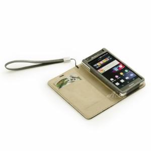 Acase Xperia A ケース PU Leather case PU レザー ケース サイド フリップ ブックタイプ for Xperia A SO-04グレー ( ストラップ 付 )