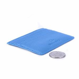 SHANSHUI カードケース 本革 RFIDブロック ブルー