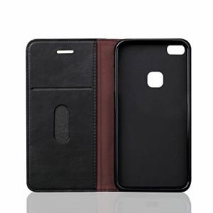 Huawei P10 Lite 手帳型 ケース P10lite 専用 カバー マソフトケース 耐衝撃 全面保護カバー (ブラック)