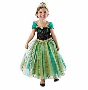 アナと雪の女王 アナ風 グリーン色 ドレス+ネックレス付き 100〜140cm (130)