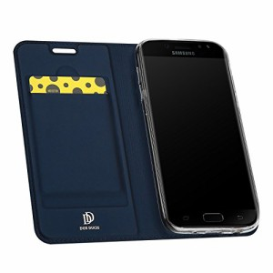 (DUXDUCIS) スマホケース Sasmung Galaxy J7 (2017) 対応 手帳型 ケース マグネット式 スタンド機能 カーザーとTPU素材 耐衝撃カバー