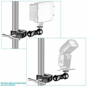 """NEEWERクールボールヘッドアーム多機能 ダブルボールボトムクランプ付き アダプタ 標準1/4 """"スクリュー LEDビデオライト カメラなどに"""