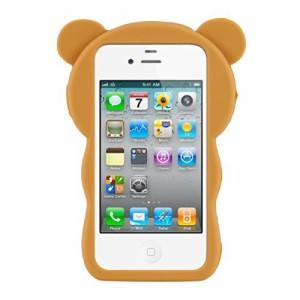 kwmobile シリコンケース 小熊デザイン Apple iPhone 4 / 4S用 茶色白色 - スタイリッシュなデザインと最適な保護