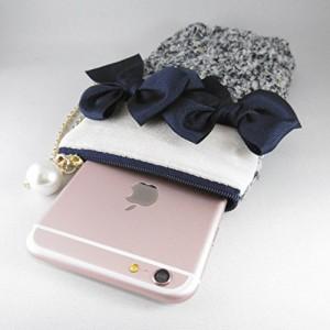 iPhone 6s/6 plus ケース リボン飾り ポーチ ( ネイQUOS XX ケース iphone 5 ケース ( 韓 青 ラメ )