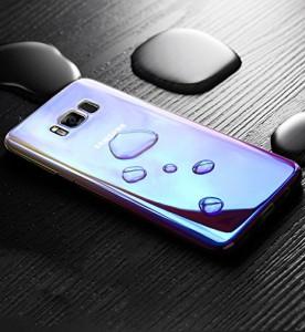 Shanenshop SAMSUNG Galaxy S8 Plus ケース クリ感 電波影響/色褪無し 変色ケースカバー(ブルー)