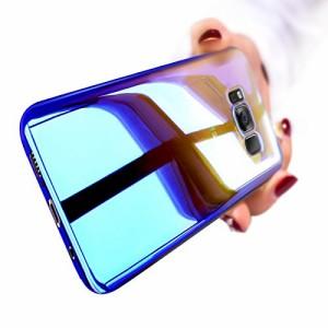 Shanenshop SAMSUNG Galaxy S8 ケース クリアーケース感 電波影響/色褪無し 変色ケースカバー(ブルー)
