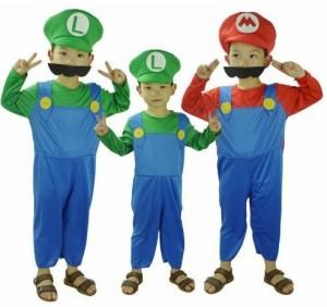 (Freewave)赤 スーパー 子供用 5点セット≪衣装+帽子+ひげ2種+手袋≫コスチューム 衣装 (赤 S(4〜6才用))
