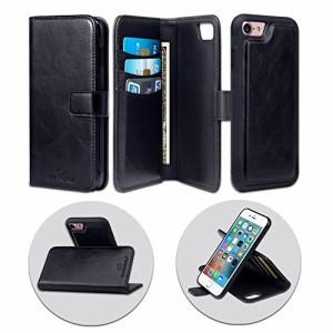 SHANSHUI iphone7 ケース 手帳型 本革 分離式 磁気スキミング防止 カード収納 耐衝撃 耐摩擦 丈夫 おしゃれ マグネット (ブラック)