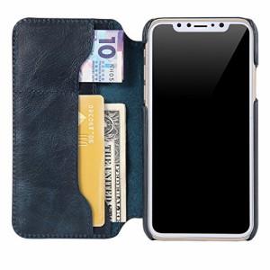 iPhone X ケース 手帳型(高級本革(牛革)カバー+ハードケース) カード入れ スタンド機能付き シンプルデザイン (ネイビー)