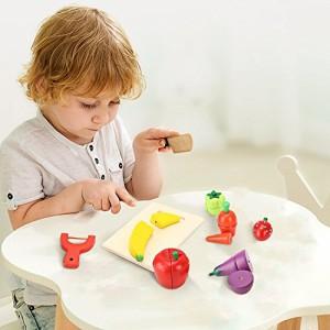 BATTOPサクッと切れるままごと 木製おもちゃ 野菜 果物 ハイブリッドセット(木箱入り) よくばり全14種 マグネット パーツ