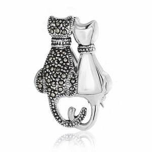 [ブリング・ジュエリー] Bling Jewelry 宝石用原石marcasite Onyx CATテールシルバーブローチが丸まっ [インポート]