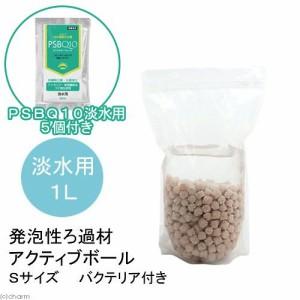 (熱帯魚)発泡性ろ過材 アクティブボール Sサイズ 1L(バクテリア付き)+PSBQ10 30mL 5個 本州・四国限定