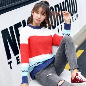 ニット 韓国 トップス ニットソー セーター 猫 ボーダー 幾何学模様 文字 カジュアル 可愛い リブ 柄 クルーネック デート