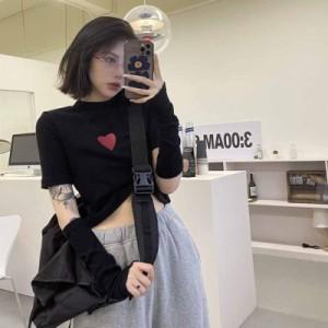 原宿風 Tシャツ レディース おしゃれ 半袖 ショート丈 トップス へそ出し 韓国ファッション ヒップホップ ダンス衣装 ストリート系 BF風