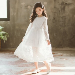 女の子 ワンピース 子供ワンピ ジュニア 上品 ドレス レース 長袖 プリンセス かわいい ロング丈 オシャレ フォーマル ベルスリーブ