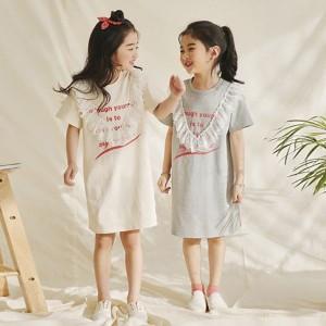 子供服 ワンピース 半袖 春夏 女の子 キッズワンピース レースワンピース ロングTシャツ カジュアル ジュニア おしゃれ 可愛い 薄手 涼し