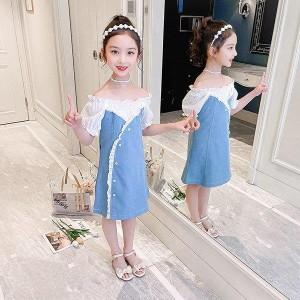 子供服 ワンピース 160 韓国子ども服 キッズ 女の子 春夏 半袖 デニムワンピース 子供ドレス 結婚式 誕生日 ベビー服 ジュニア お姫様 お