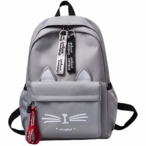 学生 猫 軽量 リュック 通学 バッグ レディース リュックサック かわいい キャンバス ねこ耳