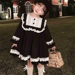 ワンピース キッズ 長袖 子供服 女の子 春秋 キッズワンピース 綿 レースワンピース 子供ドレス 結婚式 お姫様 ジュニア おしゃれ 可愛い