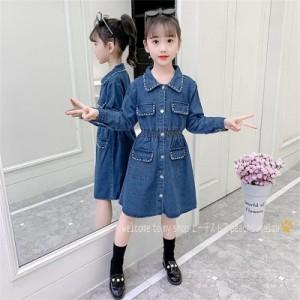 韓国子供服 女の子 ワンピースドレス チュールワンピース 長袖 デニム ワンピース 小学生 子ども服 ジュニア 通学 110-160cm