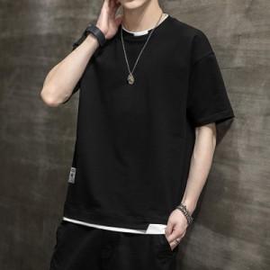 Tシャツ メンズ 半袖 韓国 ファッション おしゃれ 丸首Tシャツ Tシャツ カットソー 夏 春 夏Tシャツ メンズ 2021 春 新作
