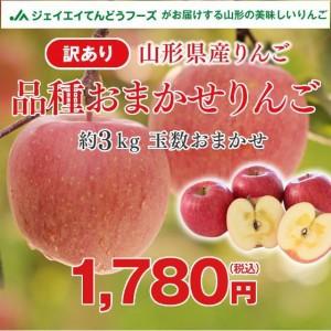 【訳あり】山形県産 りんご (品種おまかせ) 約3kg ご自宅用 ※10月上旬より順次出荷
