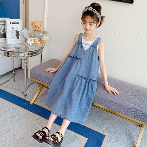 子供服 ワンピース 160 韓国子ども服 キッズ 女の子 夏服 デニムワンピース ノースリーブ 子供ドレス 結婚式 誕生日 ベビー服 ジュニア