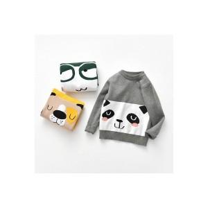 セーター キッズ 女の子 男の子 子供服 プルオーバー 長袖 トップス パンダ柄 犬柄 丸首 可愛い 暖か 保温 通園 通学 着心地いい
