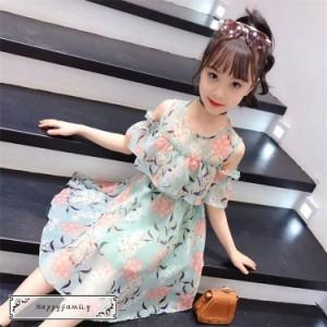 子供服 ワンピース 夏 女の子 キッズワンピース 半袖 シフォンワンピース 花柄 肩出し チュニック 子供ドレス ジュニア お姫様 おしゃれ