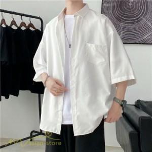 シャツ 半袖 着痩せ 日常 おしゃれ カジュアル 韓国風 無地 新作 2021 夏コーデ ライトアウター ポケット 人気 上品 ワイドシャツ ゆった