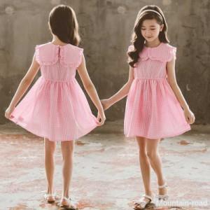 キッズワンピース 子供服 女の子 夏 子供ドレス ジュニア お姫様 袖なし ノースリーブ おしゃれ カジュアル 可愛い 韓国風 ピンク ロース
