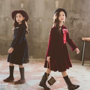 子供服 ワンピース キッズ 女の子 長袖 おしゃれ 秋冬 韓国 ジュニア ワンピース ベルベット 子供ドレス カジュアル 上品 お嬢様 可愛い