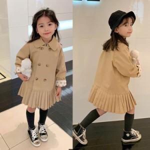 子供服 ワンピース 春夏 女の子 キッズワンピース 長袖 膝丈ワンピース フリル チュニック 子供ドレス ジュニア おしゃれ 可愛い 韓国風