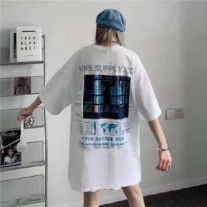 新作トップス  Tシャツ 半袖 五分袖 ロング丈 プリント バックデザイン ストリート レディース ファッション ダンス 衣装 ヒップホップ