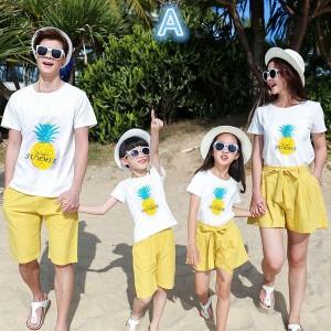 家族服 親子お揃い服 上下セット 半袖Tシャツ パンツ ペアルック カップル カジュアルウェアハワイ風