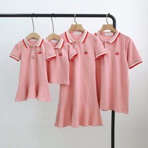 家族お揃い服 ペアtシャツ 親子ペア tワンピース 半袖tシャツ ボロシャツ メンズ 親子お揃い リゾート トップス キッズ服 男の子 ママ パ