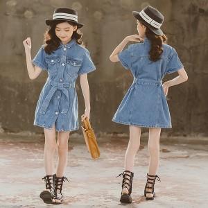 子供服 ワンピース 160 韓国子ども服 キッズ 女の子 夏 半袖 デニムワンピース ロング 子供ドレス 結婚式 誕生日 ベビー ジュニア お姫様