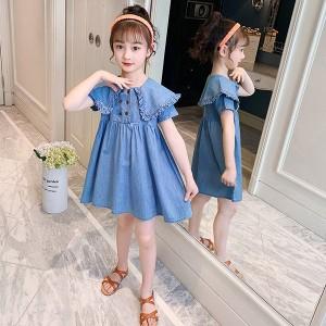 子供服 ワンピース 160 韓国子ども服 キッズ 女の子 夏服 半袖 デニムワンピース 折り襟 子供ドレス 結婚式 誕生日 ベビー服 ジュニア お