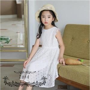 子供服 ワンピース レースワンピース キッズ 女の子 夏服 膝丈 白 子供ドレス 子ども用 韓国風 ジュニア 結婚式 カジュアル おしゃれ 可