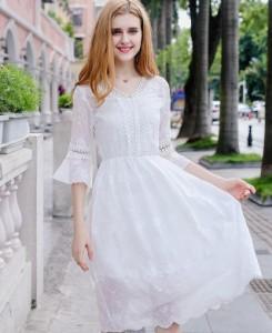 花柄 レースドレス ワンピース 二次会 パーティー Aライン フレア袖 フェミニン