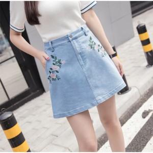 台形スカート 花柄 刺繍 デニムスカート ミニスカート Aライン  ハイウエスト
