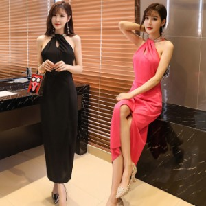 fea4640ddff73 ブラック色 3Lサイズ 予約品 大きいサイズ 深スリット入りロングドレス パーティードレス ホルターネック