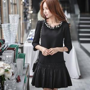値下 激安 ミディアム ドレス大きいサイズ☆パールビジュー異素材MIXワンピース☆2L3L4L5L