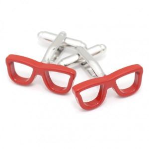 スパイシーなお洒落に赤い眼鏡・サングラスのカフス(カフリンクス/カフスボタン)