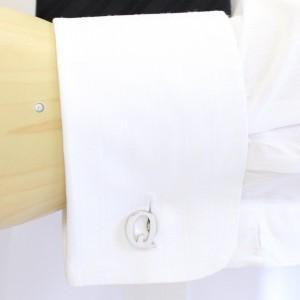 【バラ売り】シルバー・アルファベット【Q】カフス(カフリンクス/カフスボタン)