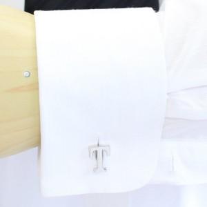 【バラ売り】シルバー・アルファベット【T】カフス(カフリンクス/カフスボタン)