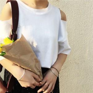 【即納】肩出し カットワーク 切りっぱなし  シンプル Tシャツ 半袖 おしゃれ 可愛い 通勤