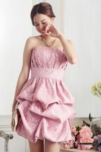 ピンクLサイズ 大きいサイズ  パーティー 披露宴 胸元プリーツ 総レース くしゅくしゅバルーンスカート ドレス