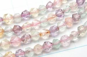 水晶ミックス(クォーツ系&フローライト) シンプルスターカット 6mm 1連(約38cm)_R5512-6