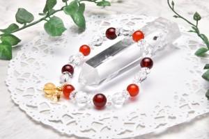 高品質 オレンジガーネット&水晶スターカット 8.5mm ブレスレット_A587